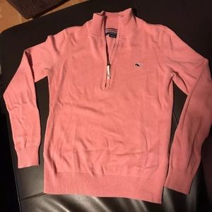 Vineyard Vines pink quarter zip sweater XS